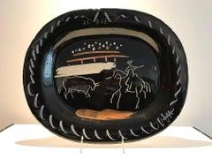 Corrida sur Fond Noir Ramie 198 Picasso Madoura Ceramic
