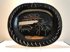 Picasso Madoura Ceramic Ramie 198 Corrida sur Fond Noir