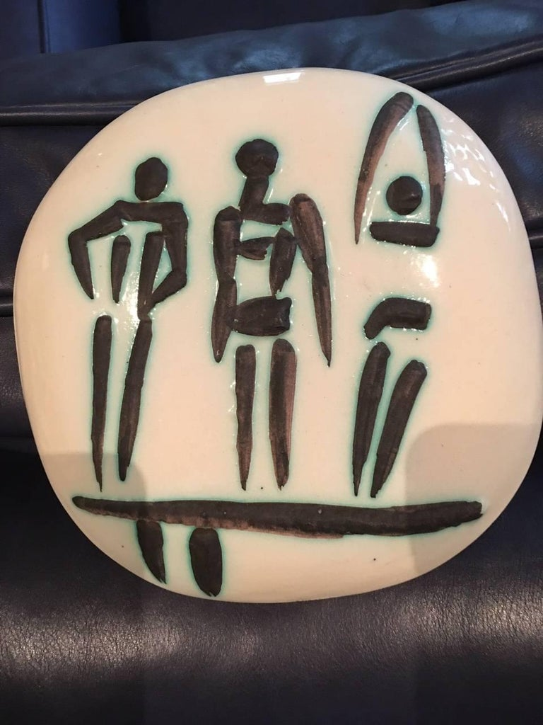 Pablo Picasso Figurative Sculpture - Ramie 375 Picasso Ceramic Madoura Three People On A Trampoline