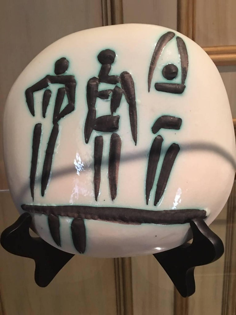 Ramie 375 Picasso Ceramic Madoura Three People On A Trampoline - Black Figurative Sculpture by Pablo Picasso