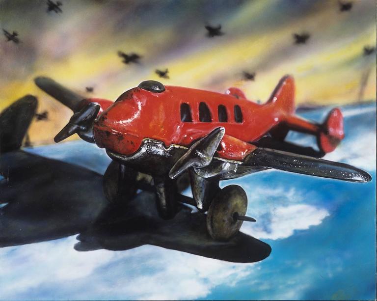 Vintage Toy Airplane -- Original Oil Painting