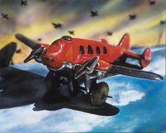 Vintage Toy Airplane -- Original Oil Painting