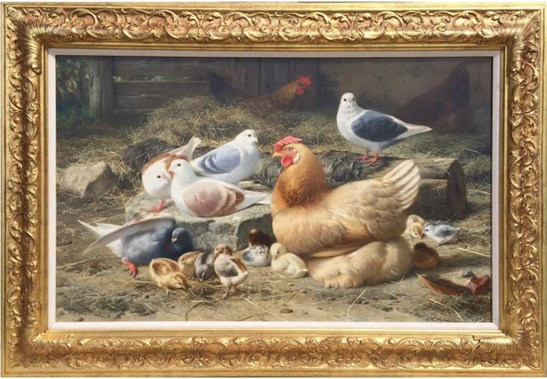 Eugene Remy Maes Animal Painting - The Gathering in the Barnyard