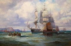English Shipping scene with fishing vessels and larger ship