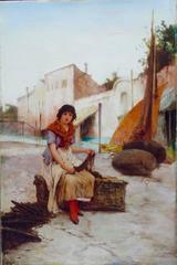 19th century Southern Italian Girl seated whilst Mending the Nets