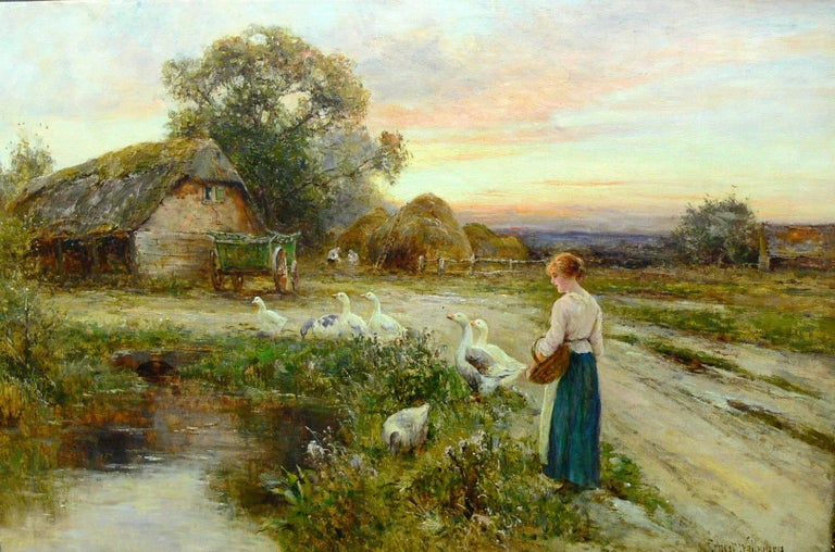 Ernest Walbourn Figurative Painting - The Goose Girl