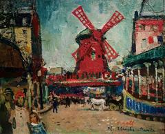 French Impressionist scene of the Moulon Rouge, Paris France