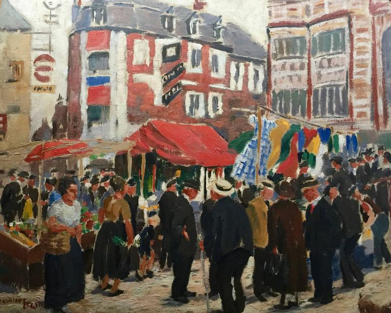 Greville Erwin Figurative Painting - French Market Town scene