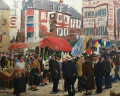 Impressionist French or English Market Town scene
