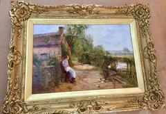 Young English Girl feeding the Chickens by the river bank