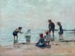 Young Scottish Children Playing by the Sea Shore