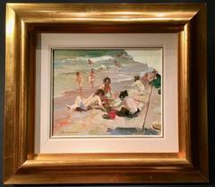 Spanish Beach Scene with Children Playing