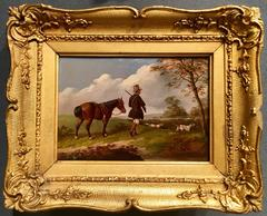 Hunter out with his dogs, pony in an English landscape