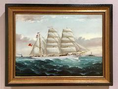 English merchant ship off the coast of England at full sail