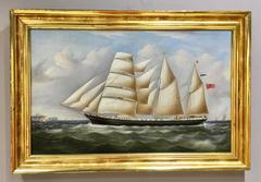 English Merchant ship off the coast of England at full sail.