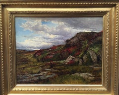 A British Victorian 19th century landscape with heather in a moorland setting