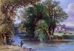 Extensive English River landscape with fisherman fishing