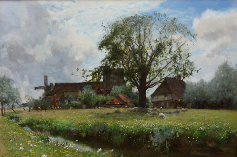 Sir David Murray Landscape Painting - English river landscape with sheep grazing, church and windmill in the distance