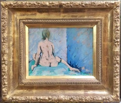Female Nude study, from the back in pastel blues and greens
