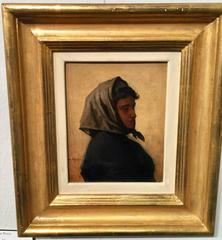 Oil Sketch of a French Breton Woman in a head scarf