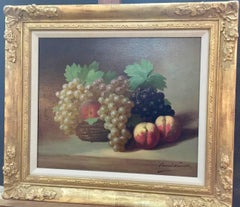 French Impressionist Still life of Grapes and Peaches in a French Wicker Basket
