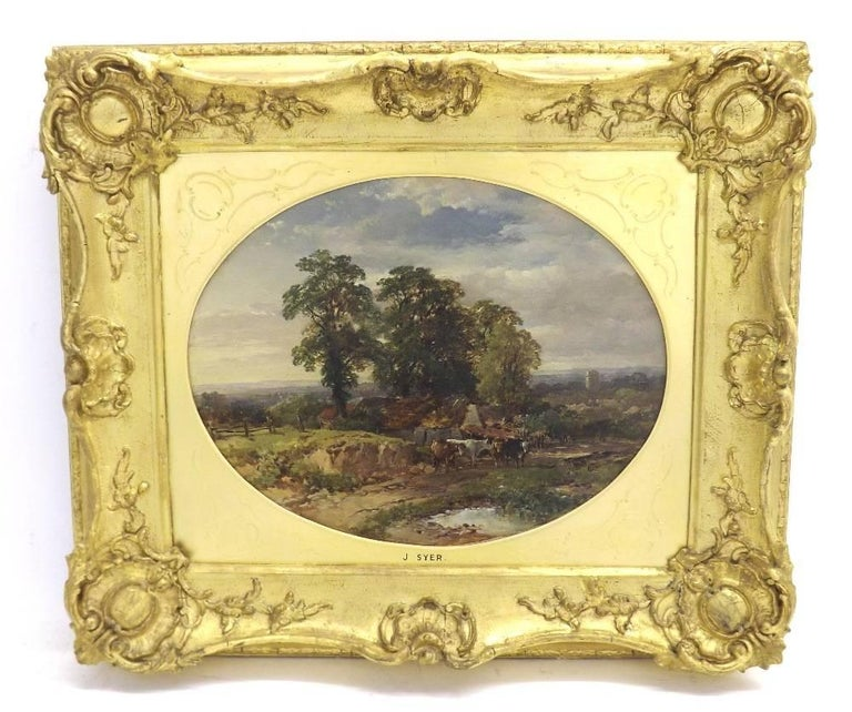 John Syer Landscape Painting - Extensive English Rural Victorian Cottage landscape