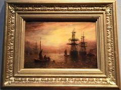 English marine scene during early evening with the Sun setting