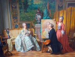 French interior scene with an artist painting a young lady in a Baroque interior