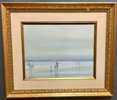 American or French beach scene with figures at the waters edge