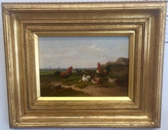 19th Century Dutch scene with Chickens in a field