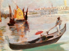 Early 20th century Gondola on a canal in Venice Italy