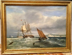 Scottish marine scene with Battle ships and fishing vessels in a rough sea
