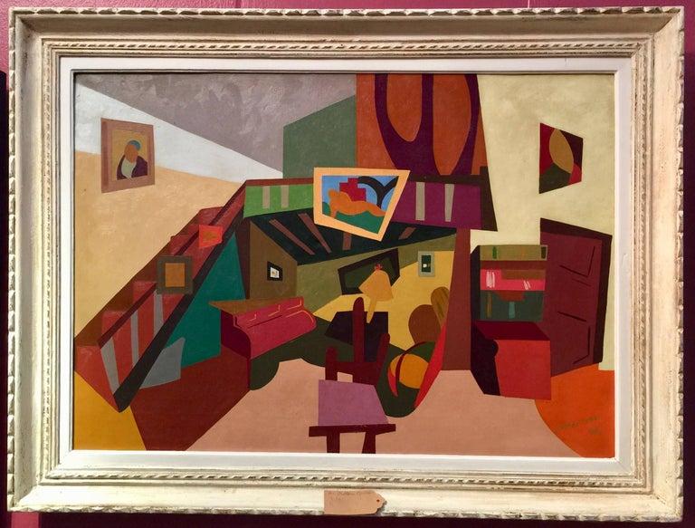 Alain Mettais Cartier Interior Painting - French Cubist mid century Interior
