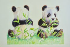 Panda Bears, seated whilst eating