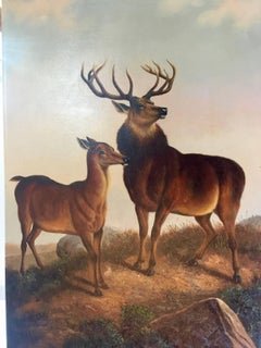 Scottish scene of a stag and  deer in an Extensive Highland landscape