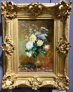 French Impressionist study of flowers in a glass vase