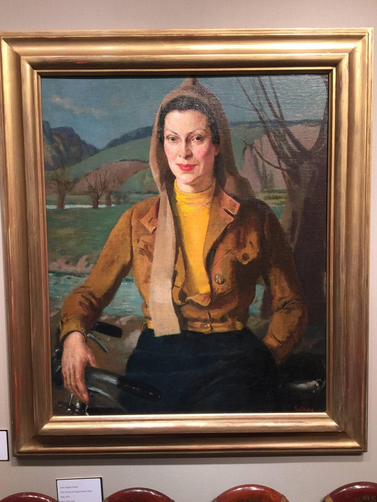 John Gilroy Figurative Painting - English portrait of a lady from the 1930's with a bicycle in a flying jacket