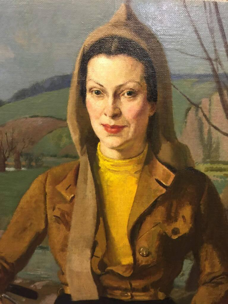 English portrait of a lady from the 1930's with a bicycle in a flying jacket - Impressionist Painting by John Gilroy