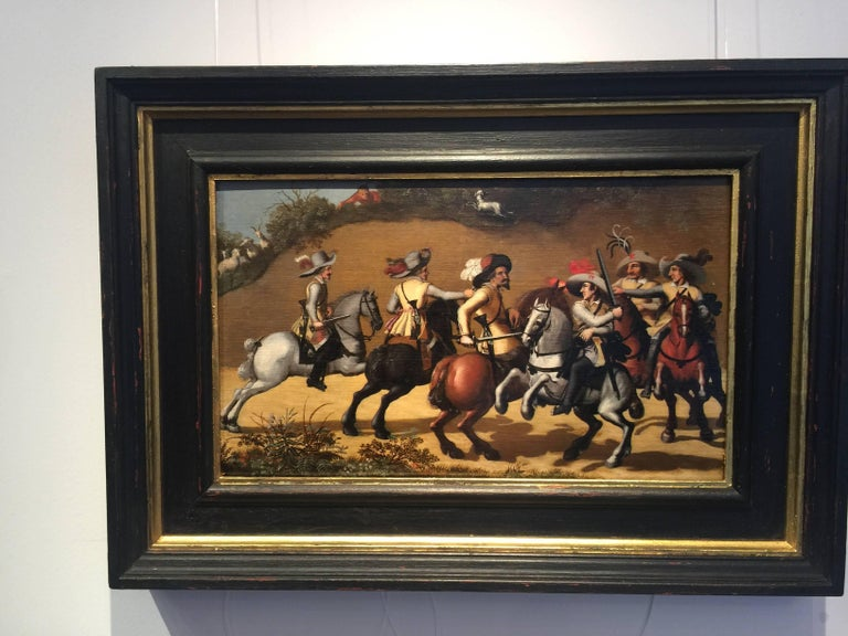 (After) Pauwels Van Hillegaert Figurative Painting - Dutch 17th century horsemen battling with muskets,swords with cavalier uniforms