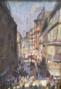 An Impressionist view of a Paris street scene with figures, horses, buildings