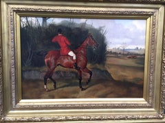 English Fox Huntsman on his chestnut hunter horse
