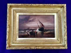Victorian marine scene of fishing boats in a rough sea
