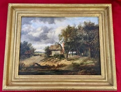 Extensive Victorian 19th century English River Landscape with Horse and Rider