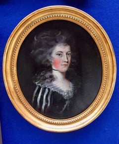 English 18th century Portrait of a lady with Pearls in her hair