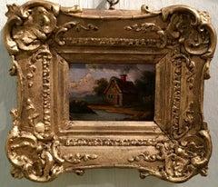Wonderful small English 19th century cottage landscape