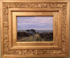 Extensive English rural landscapes with figures and oak trees
