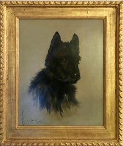Victorian English Portrait of a Scottie dog or puppy