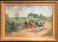 English lady in a horse drawn buggy trotting through an Impressionist landscape