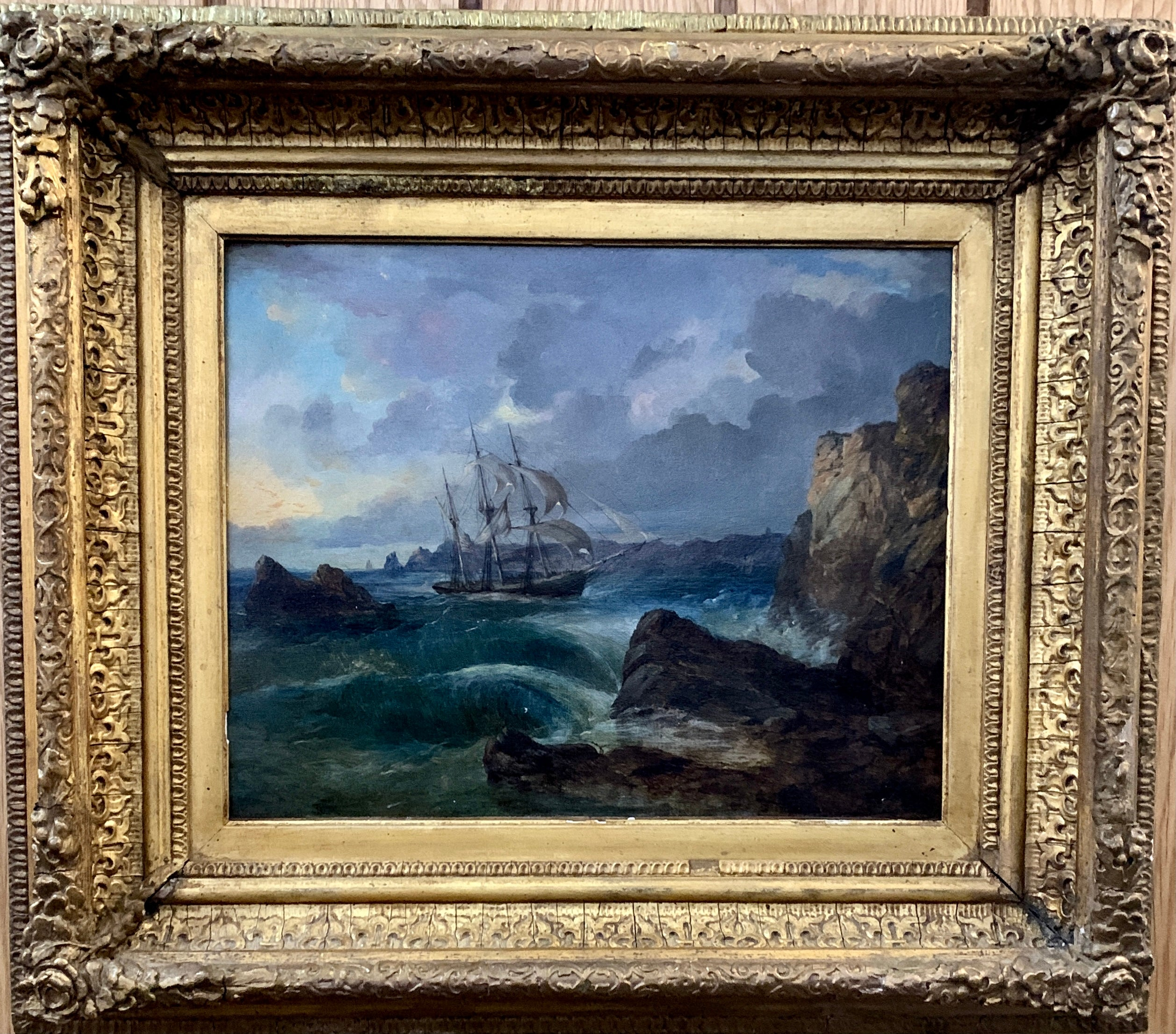 British 19th century Victorian boat off the coast of England in rough seas