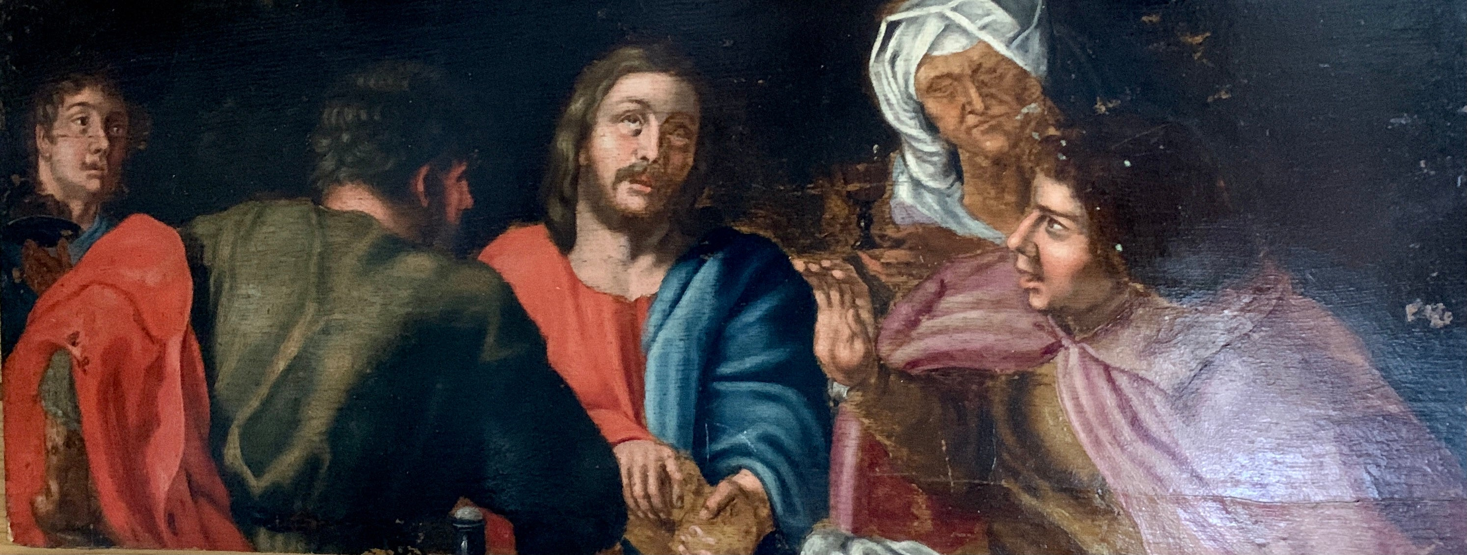 17th century European oil, Christ and his disciples seated around a table.